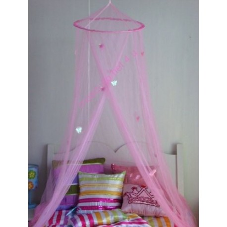 Moustiquaire rose avec papillons caillou flacoti - Ciel de lit papillon ...