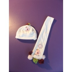Bonnet écharpe Kitchoun fille 3-6 mois