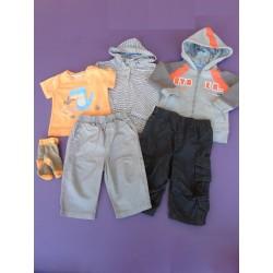 Lot gris/orange/noir garçon 6 mois