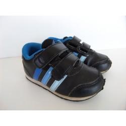 Baskets cuir noires/bleues Adidas pointure 21