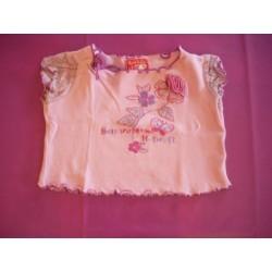 Tee-shirt rose brodé 2 ans