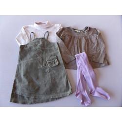 Lot robe velours Adélie 3-4 ans