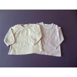 Lot de 2 tee-shirts manches longues fille 6 mois