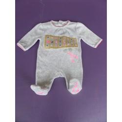 Pyjama velours brodé strassé fille 1 mois