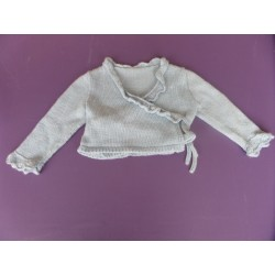 Cardigan croisé tricoté main fille 4 ans