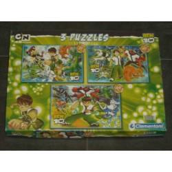3 Puzzles ben 10 -  30, 60 et 100 pièces - de Clementoni