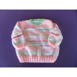 Pull pastel tricoté main 3 mois
