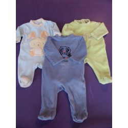 Lot de 3 pyjamas velours pastels 1 mois