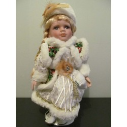 Neuf ! Katarina, Poupée de porcelaine de collection avec socle bois