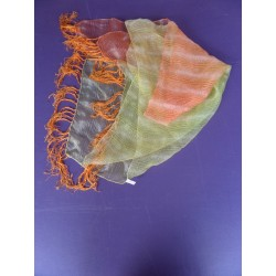 Foulard frangé orange/jaune