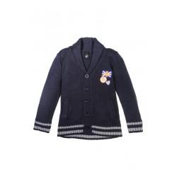 Neuf ! Gilet tricot col châle marine 2 ans