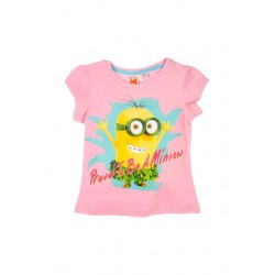 Neuf ! T-shirt imprimé Minions fille rose 3 ans