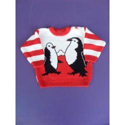 Pull acrylique brodé Pingouins 6 mois