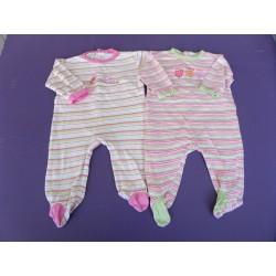 Lot de pyjamas jersey fille brodés 6 mois