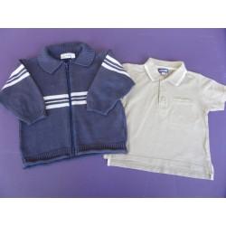 Gilet zippé et polo garçon 3 ans