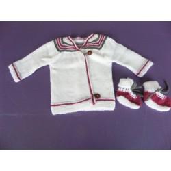 Ensemble cardigan laine tricoté main 1 mois