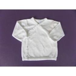 Cardigan blanc coton Kitchoun 3 mois