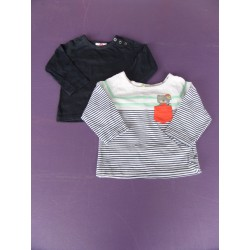 Lot de 2 t.shirts manches longues DPAM/Orchestra 1 an