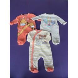 Lot de 3 pyjamas velours brodés Bébé Rêve 1 mois