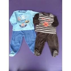 Lot de pyjamas velours brodés 2 pièces 1 an