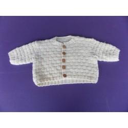 Gilet tricoté main laine 12 mois