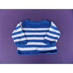 Pull maille laine tricoté main 18-24 mois