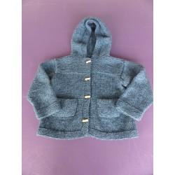 Veste tricotée à capuche bleu pétrole 5-7 ans