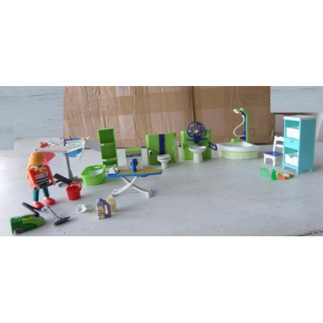 Ensemble playmobil salle de bain buanderie caillou flacoti for Playmobil buanderie