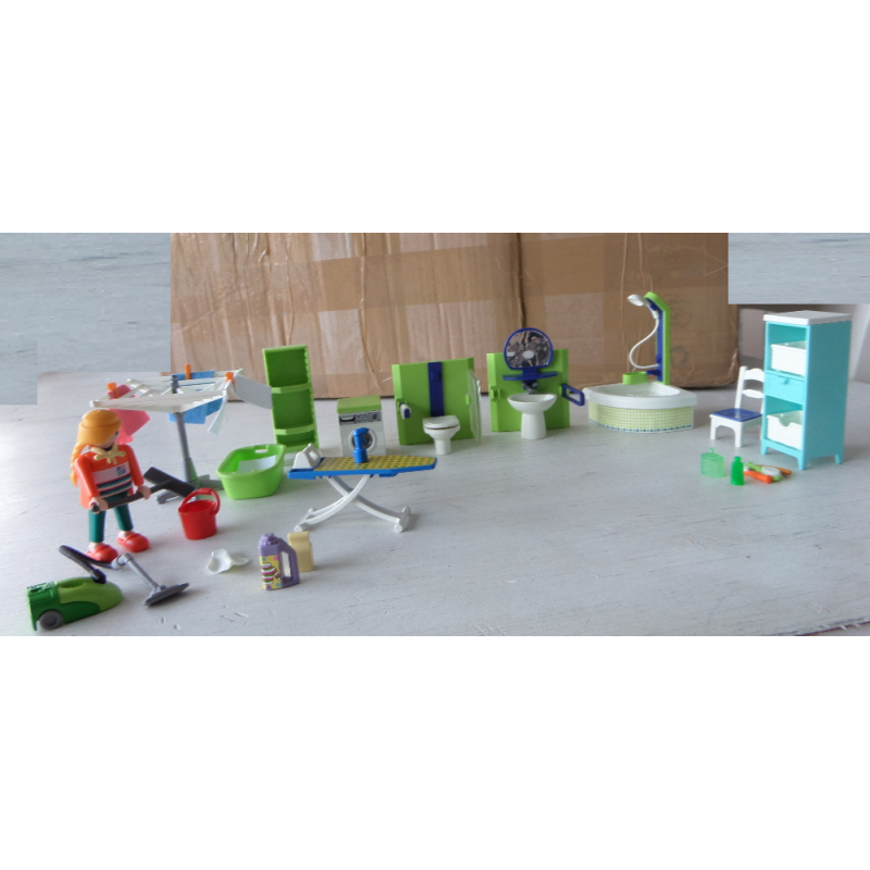 Ensemble playmobil salle de bain buanderie caillou flacoti for Salle de sejour playmobil