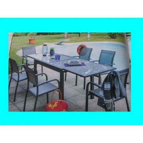 Ensemble table extensible aluminium et verre Lucrecia + 6 fauteuils