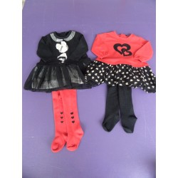 Lot 4 pièces noir/rouge et strass fille 6 mois
