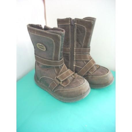 Bottes cuir marron à glissière T22