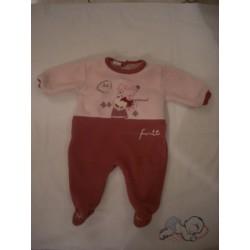 Pyjama polaire rose pâle/violine 3 mois