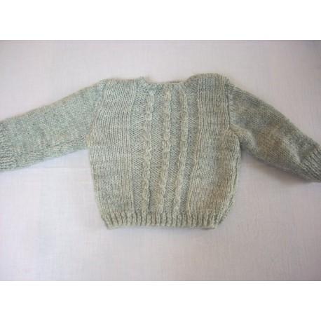 Joli pull laine gris fait main 1 mois
