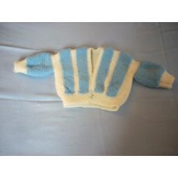 Petit gilet blanc/bleu tricoté main 3 mois