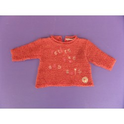 Pull maille rouille fille 6 mois